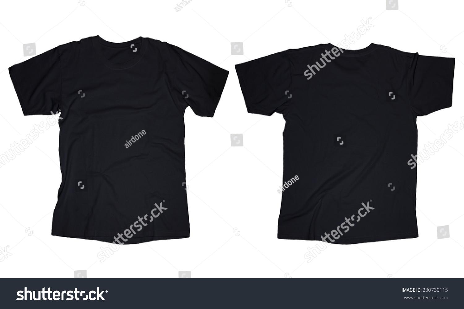 Blank black t shirt front and back - Wrinkled Blank Black T Shirt Template Front And Back Design Isolated On White