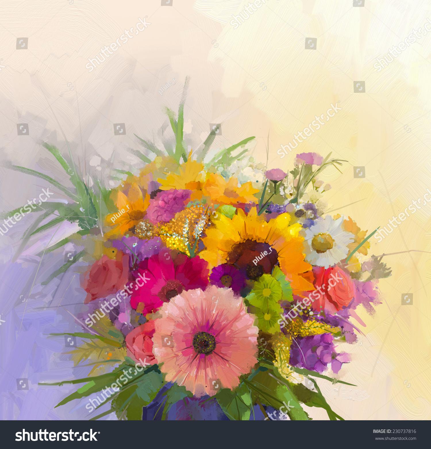 Oil Painting Still Life Bouquet Flowers Stock Illustration 230737816 ...