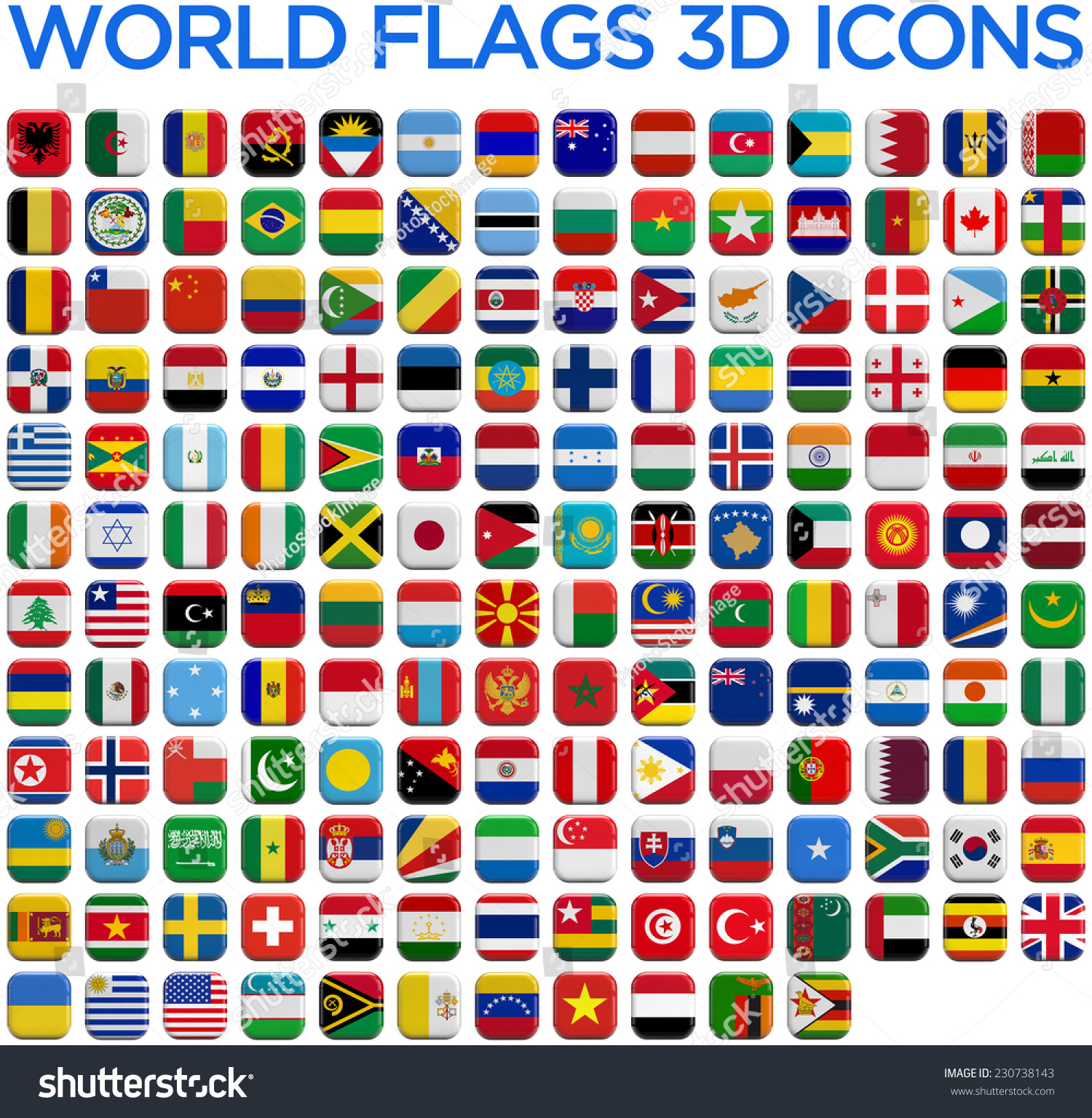 World Country Flags 3d Isolated Square Stock Illustration ...