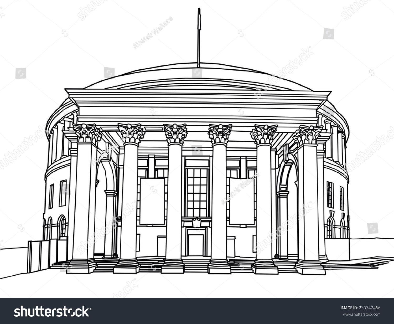 Line Drawing Library : Line drawing of the central library building manchester