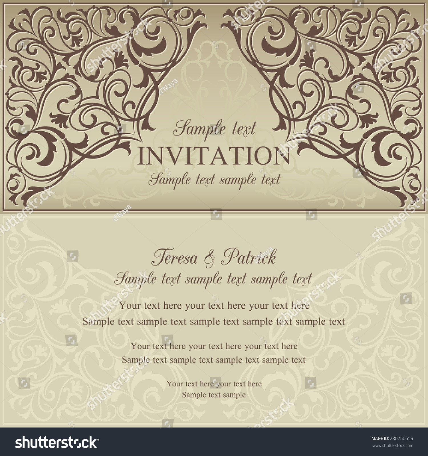 Orient East Invitation Card Oldfashioned Style Stock Vector (Royalty ...