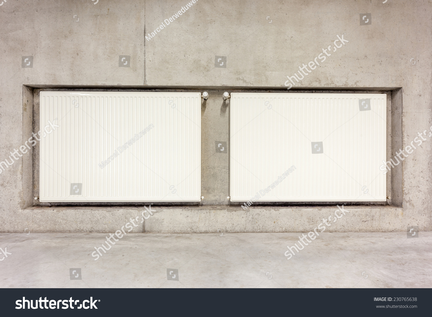 On Concrete Wall Hang Two Radiator In Working In The Wall Ez Canvas