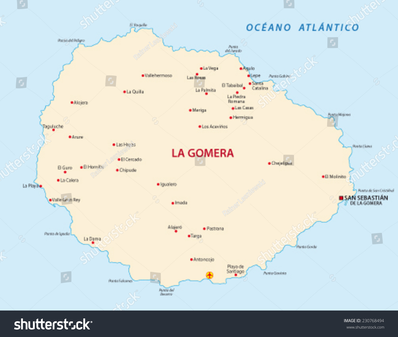 La Gomera Map Stock Vector 230768494 Shutterstock