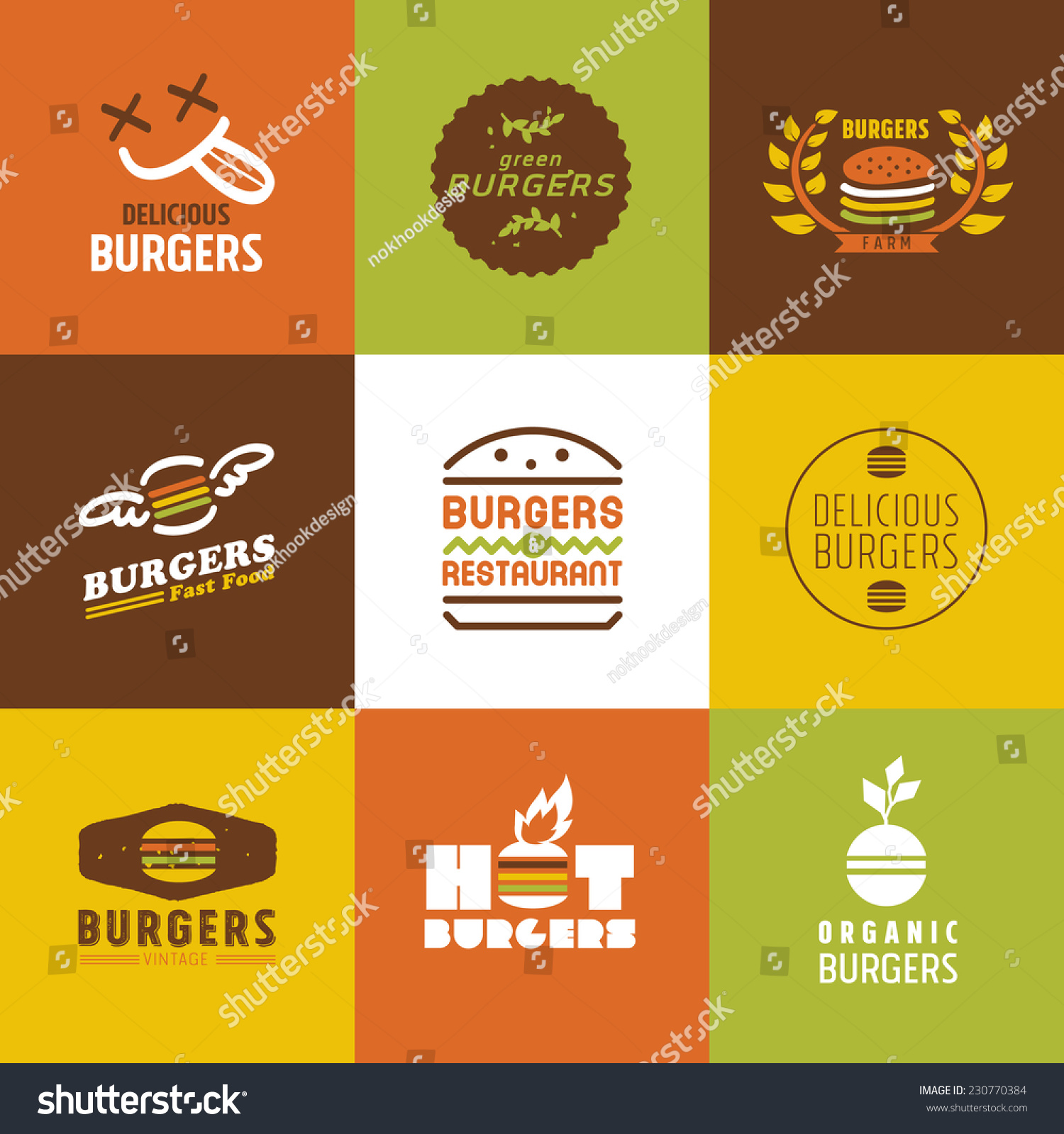 Fast food restaurant vector logos and icons set graphic