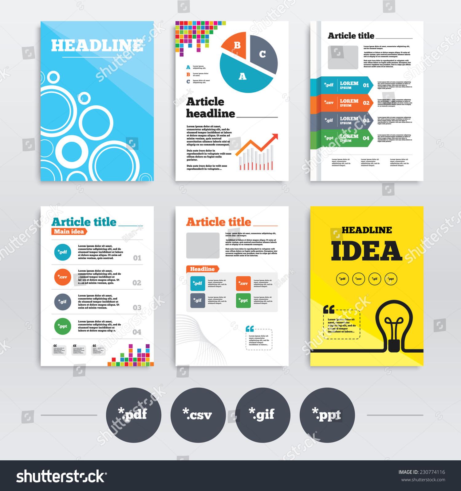 Brochure design a 4 flyers document icons stock vector 2018 brochure design and a4 flyers document icons file extensions symbols pdf gif toneelgroepblik Images