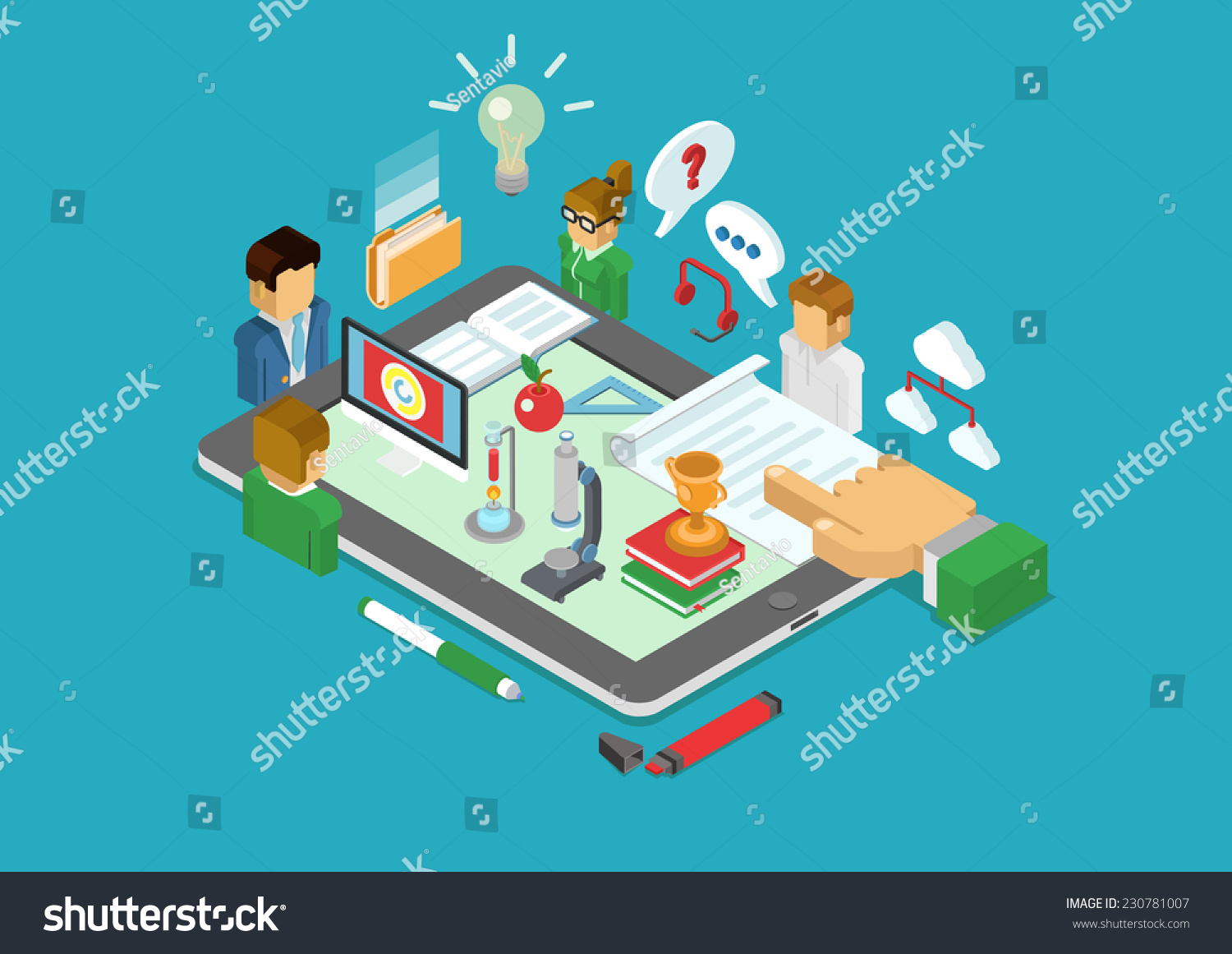 Flat 3d Isometric Science Scientific Research Stock Vector