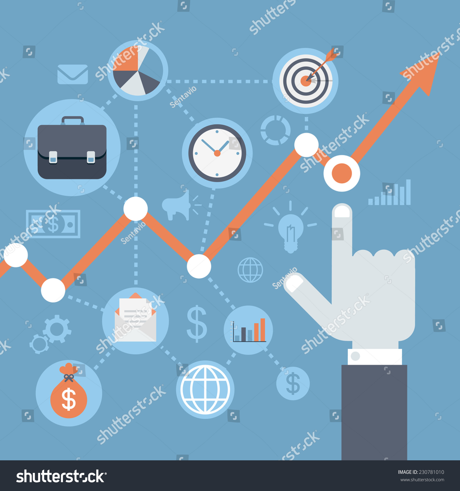Flat Style Modern Web Infographics Data Vector 230781010 – Annual Report Analysis Sample