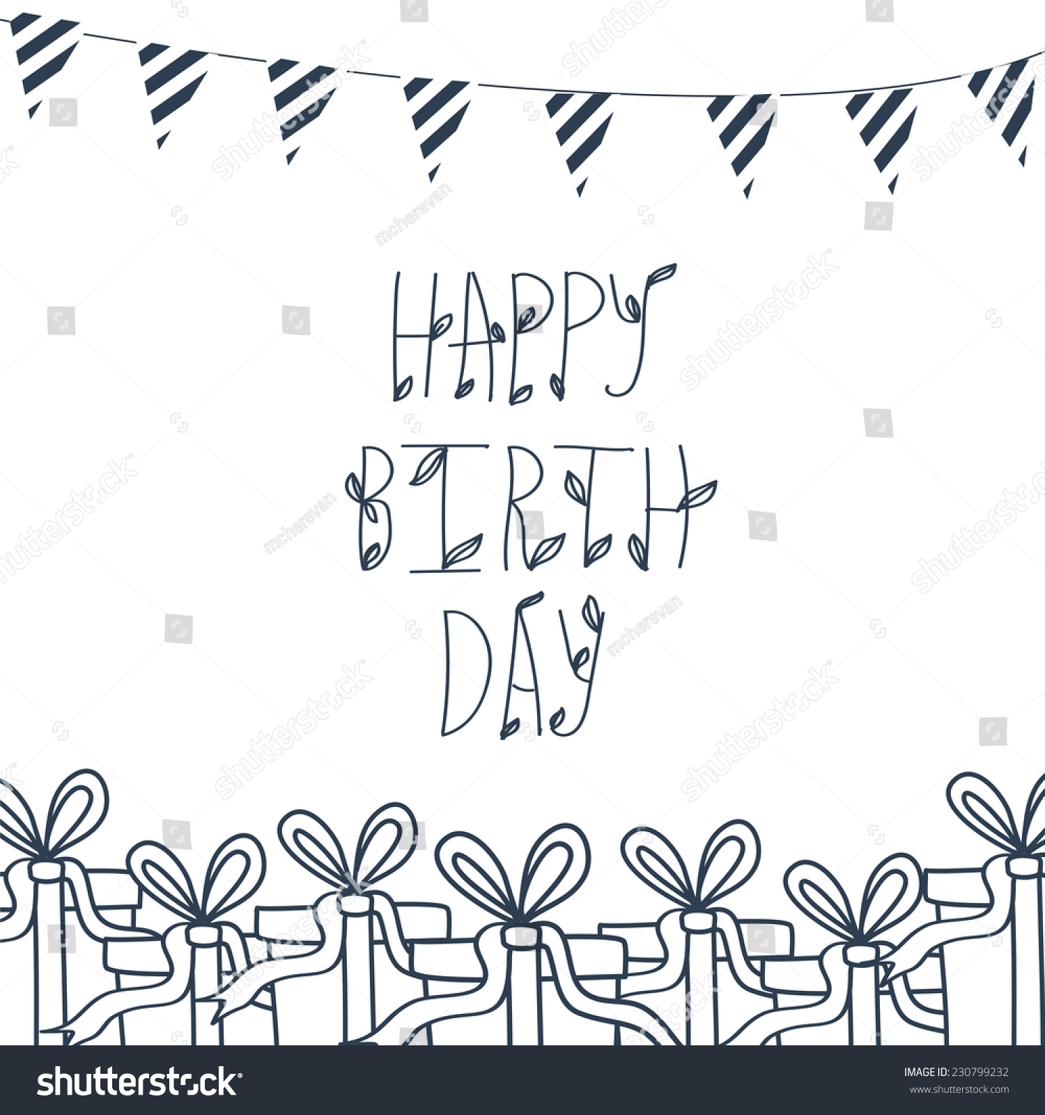 Birthday Greeting Card Hand Draw Background With Xmas Design And Merry Christmas Lettering