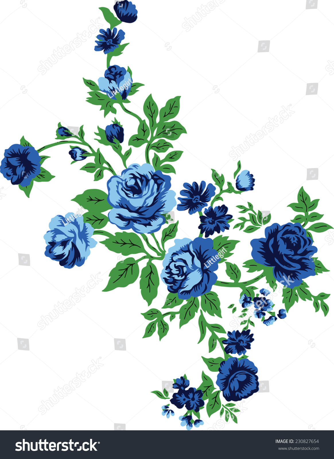 Blue Bouquet Vector Flowers Stock Vector (Royalty Free) 230827654 ...
