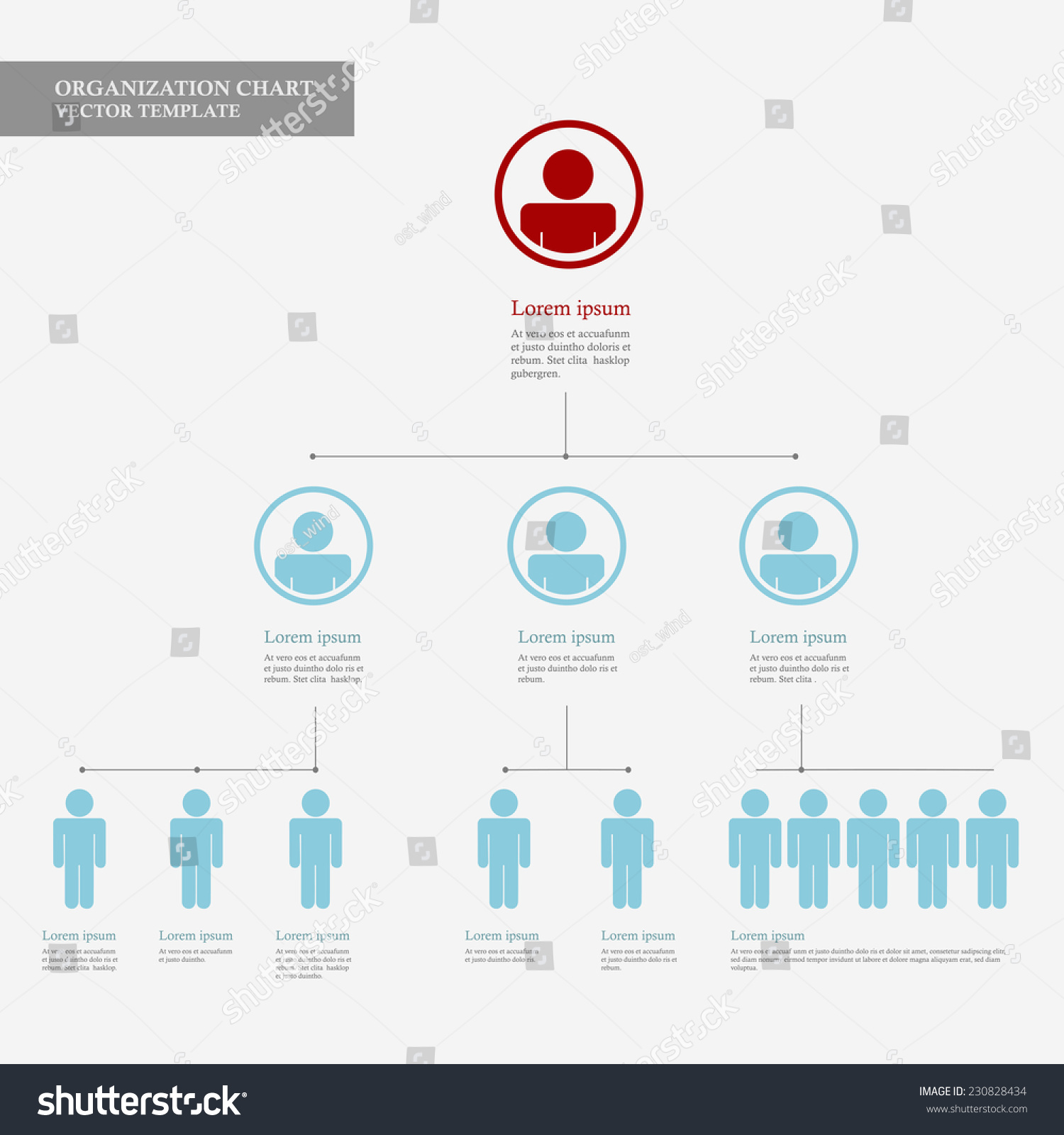 Corporate Organization Chart Template Business People Stock Vector ...
