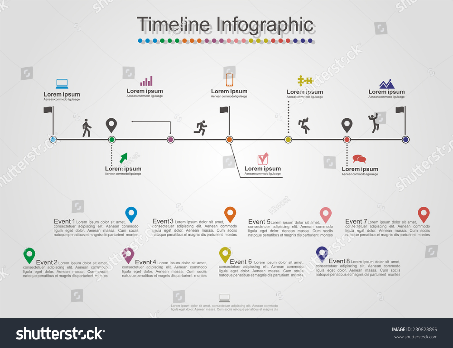 infographics timeline element web design layout stock vector