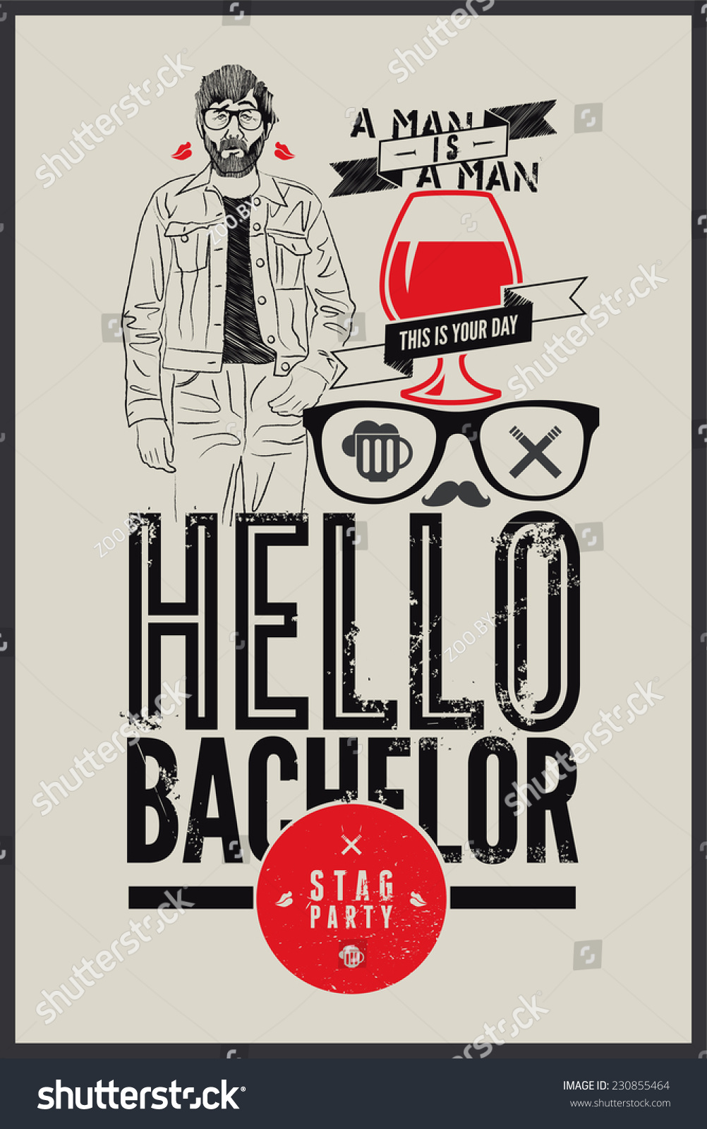 Poster stag party hello bachelor stock vector 230855464 shutterstock poster for stag party hello bachelor monicamarmolfo Choice Image