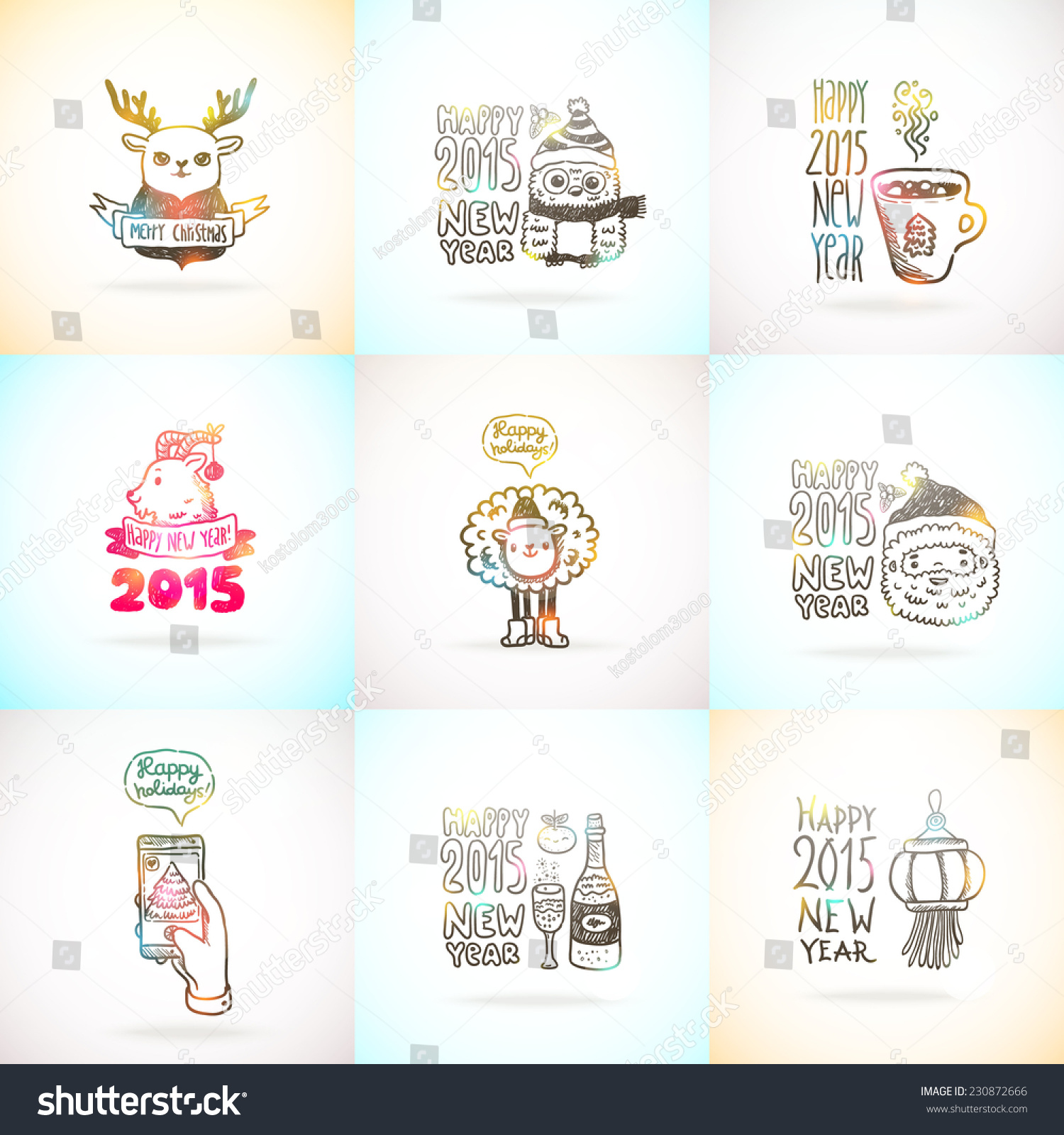 cute sketch doodle happy new year and merry christmas card set with santa claus deer