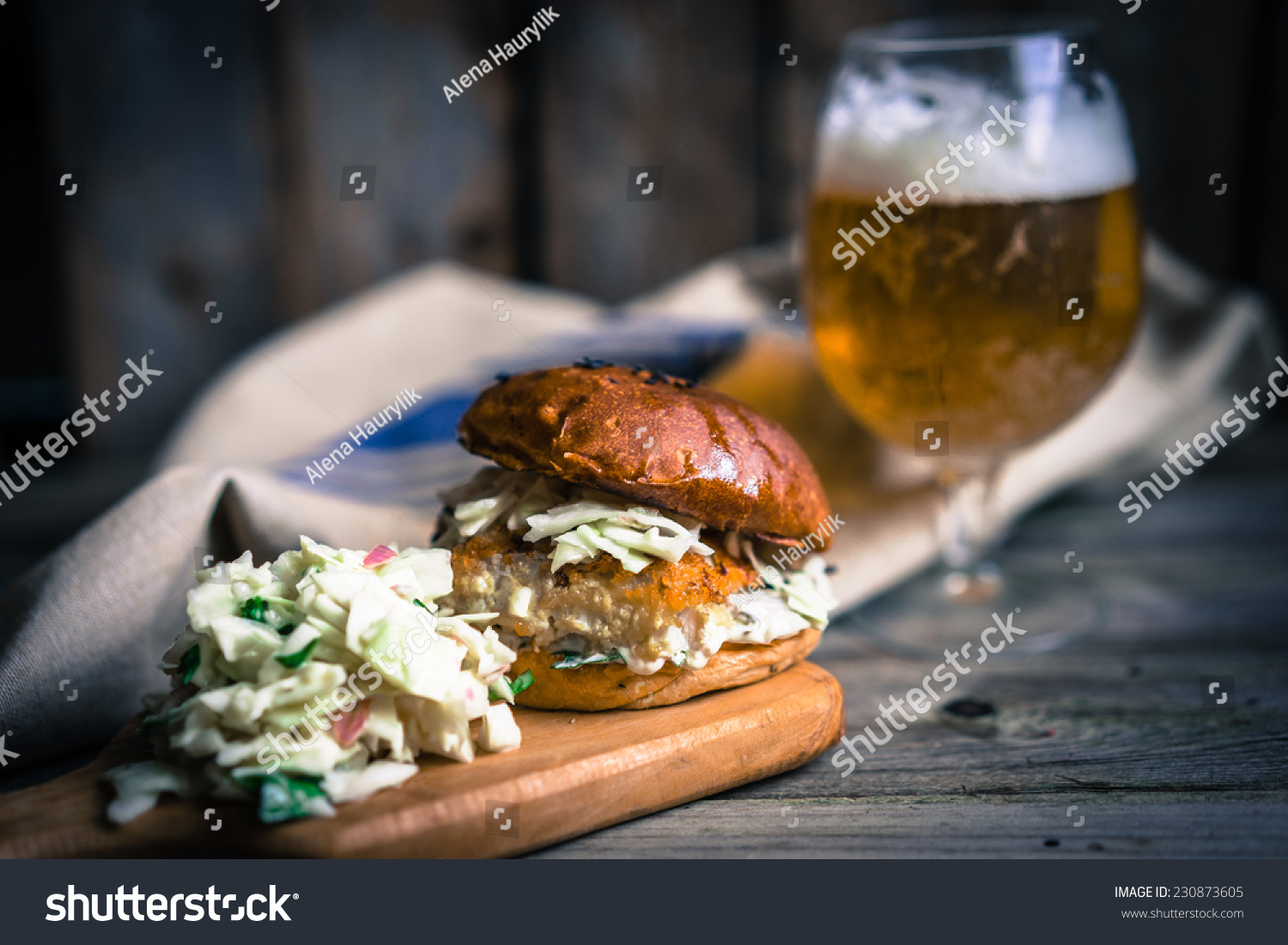 Rustic fish burgers coleslaw beer stock photo 230873605 for Fish and beer