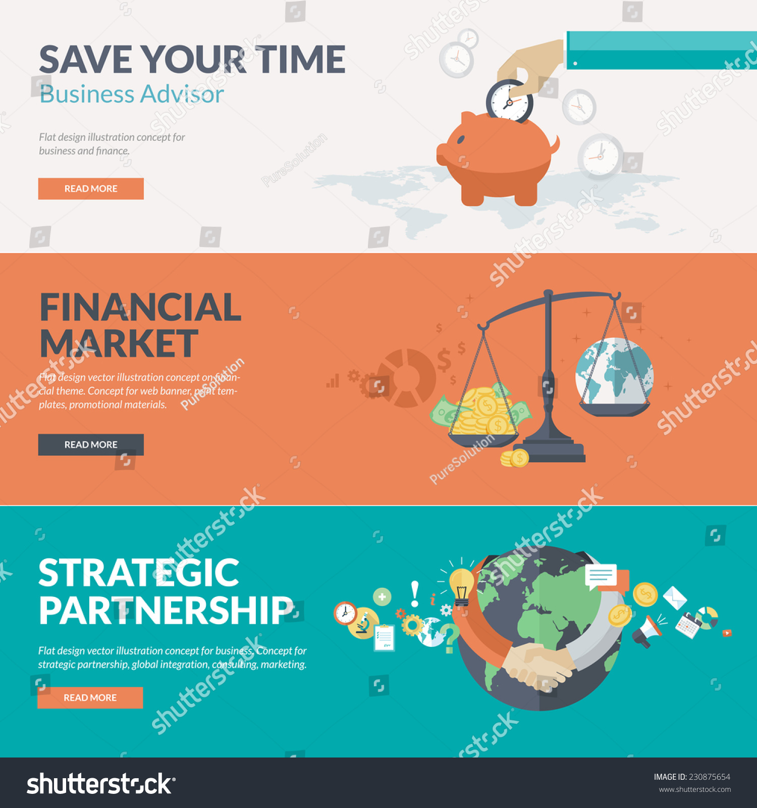 Flat design concepts business finance consulting stock for Custom marketing materials
