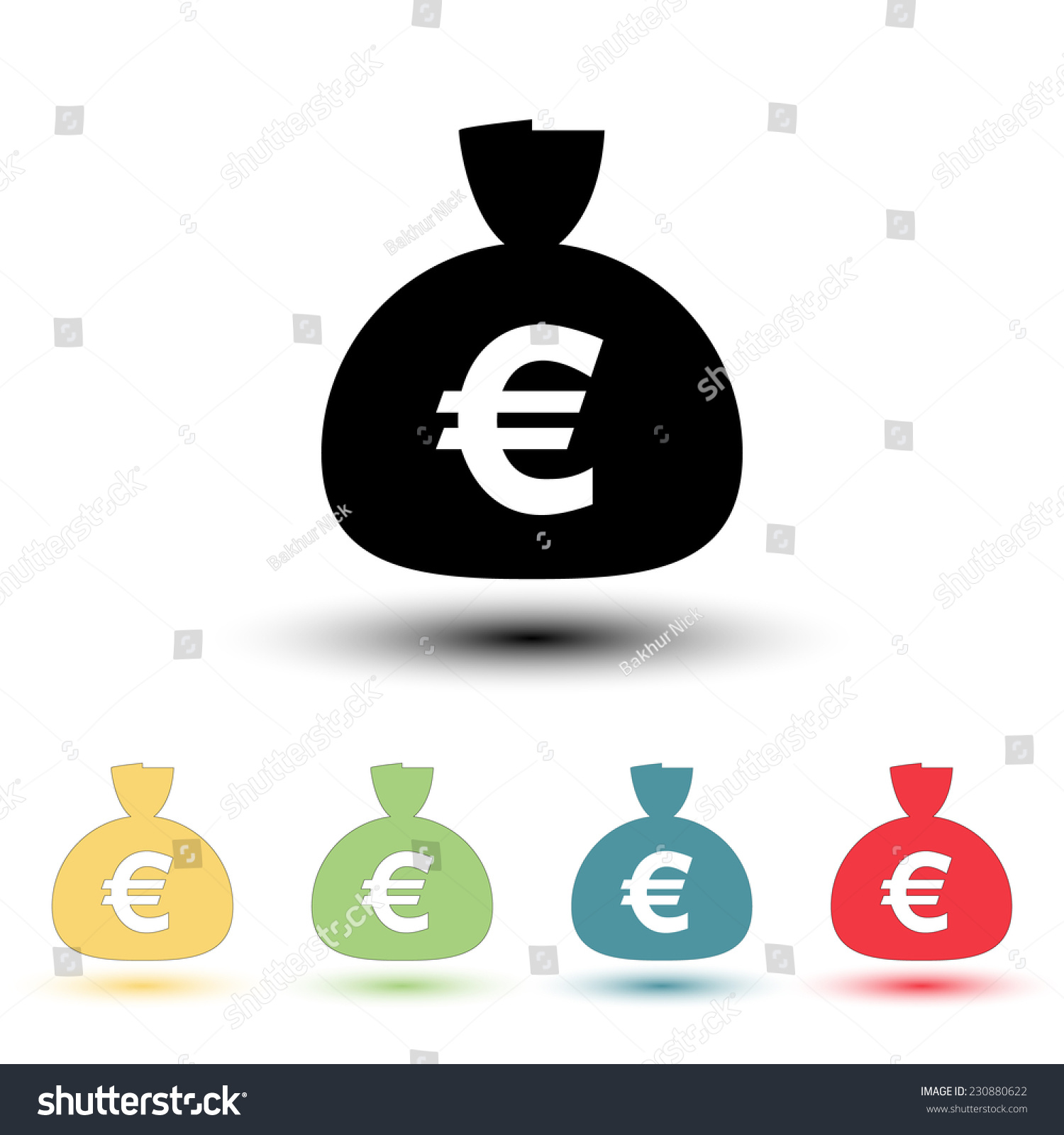 Money Bag Icon Euro Eur Currency Stock Vector Royalty Free