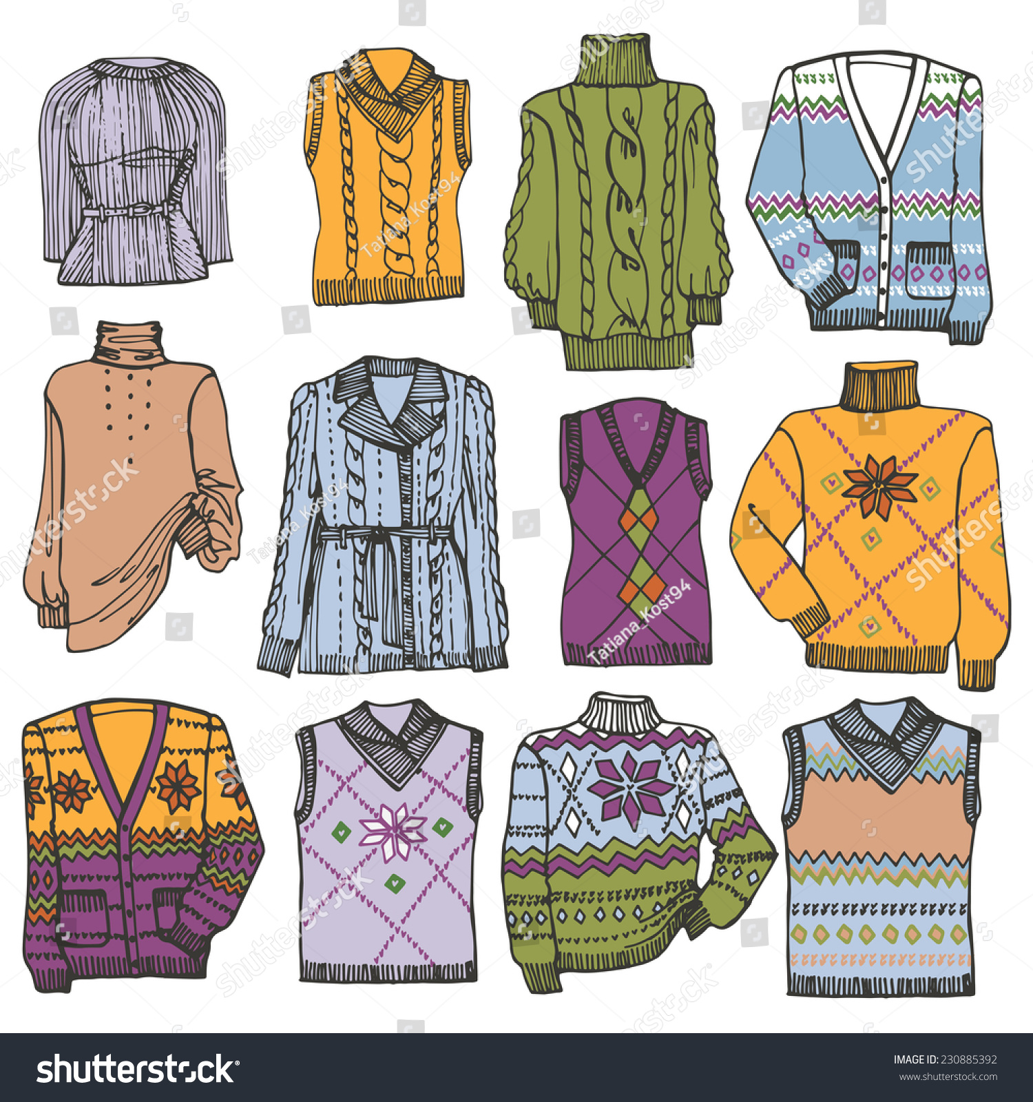 1d7103f66805 Multicolored Fashionable knitted clothing set on Sketchy style.Autumn