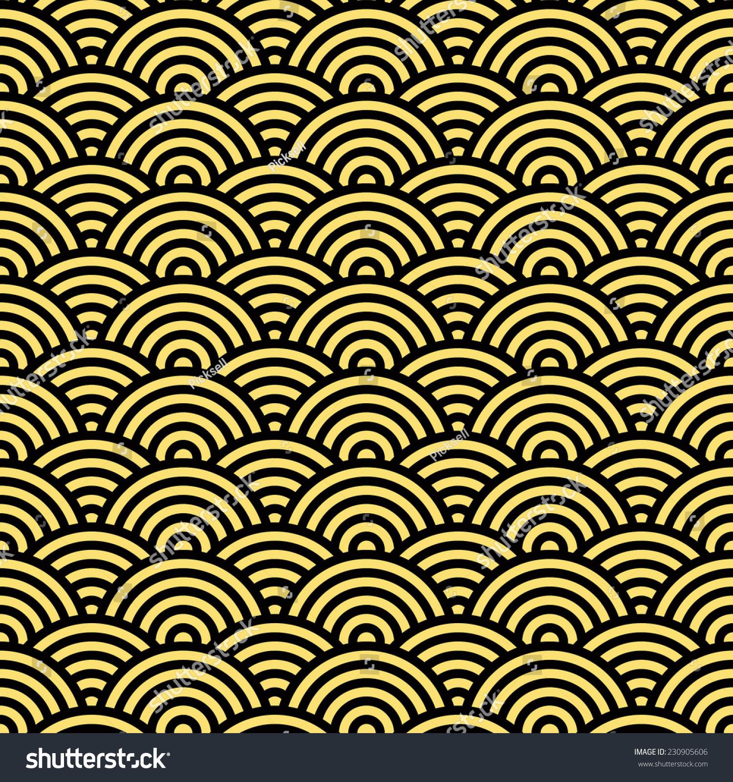 stock photo seamless black and gold japanese wallpaper pattern 230905606