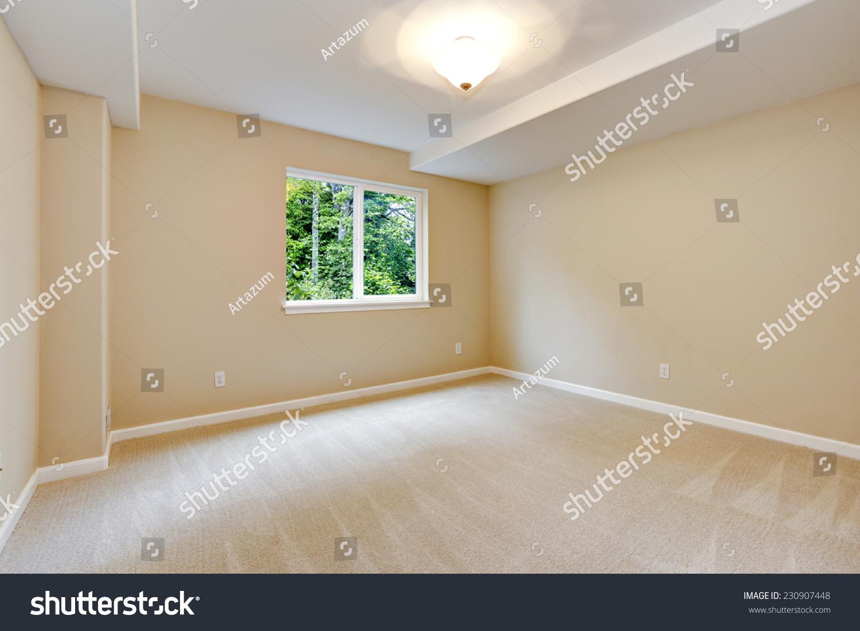 Bright Empty Bedroom Light Ivory Tone Stock