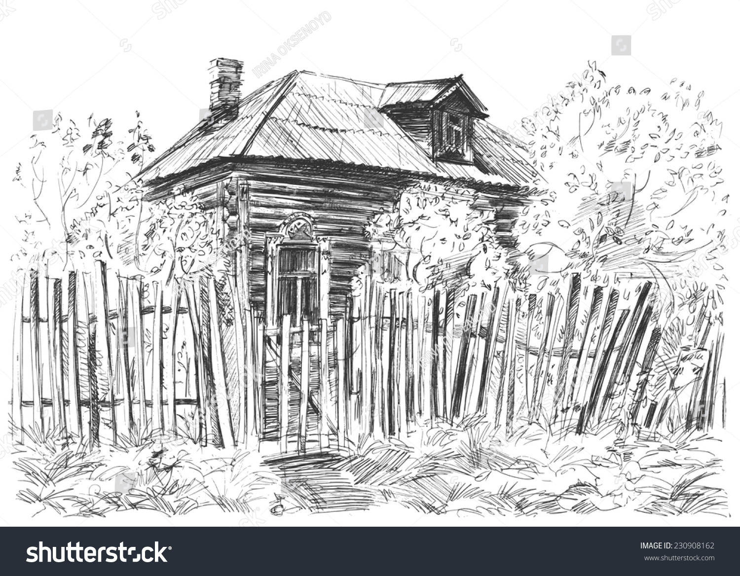 Sketch old wooden house rickety fence stock vector 230908162 a sketch of old wooden house with rickety fence and bushes around it russian countryside baanklon Choice Image