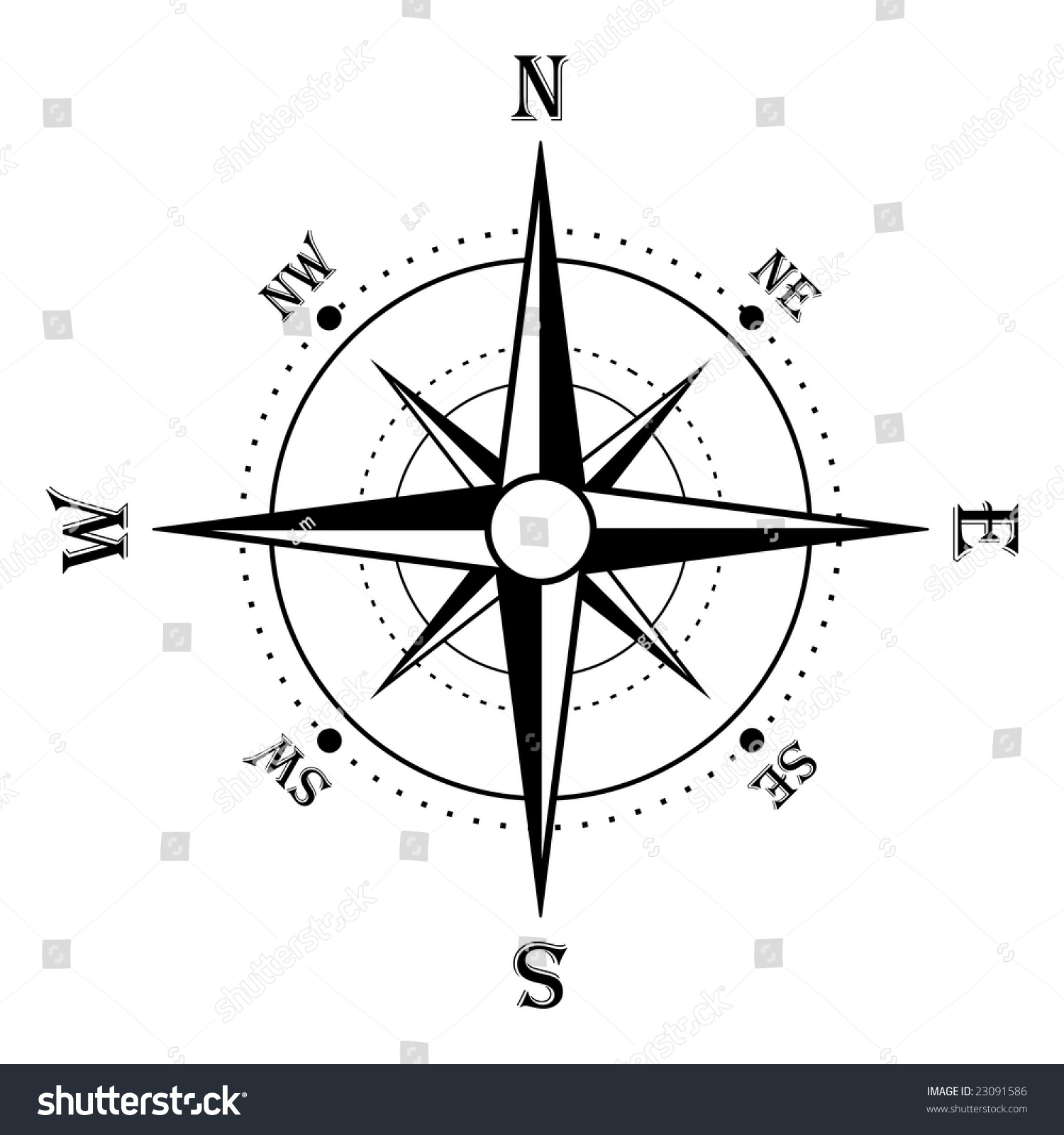 Compass Rose Black White Stock Illustration 23091586 - Shutterstock