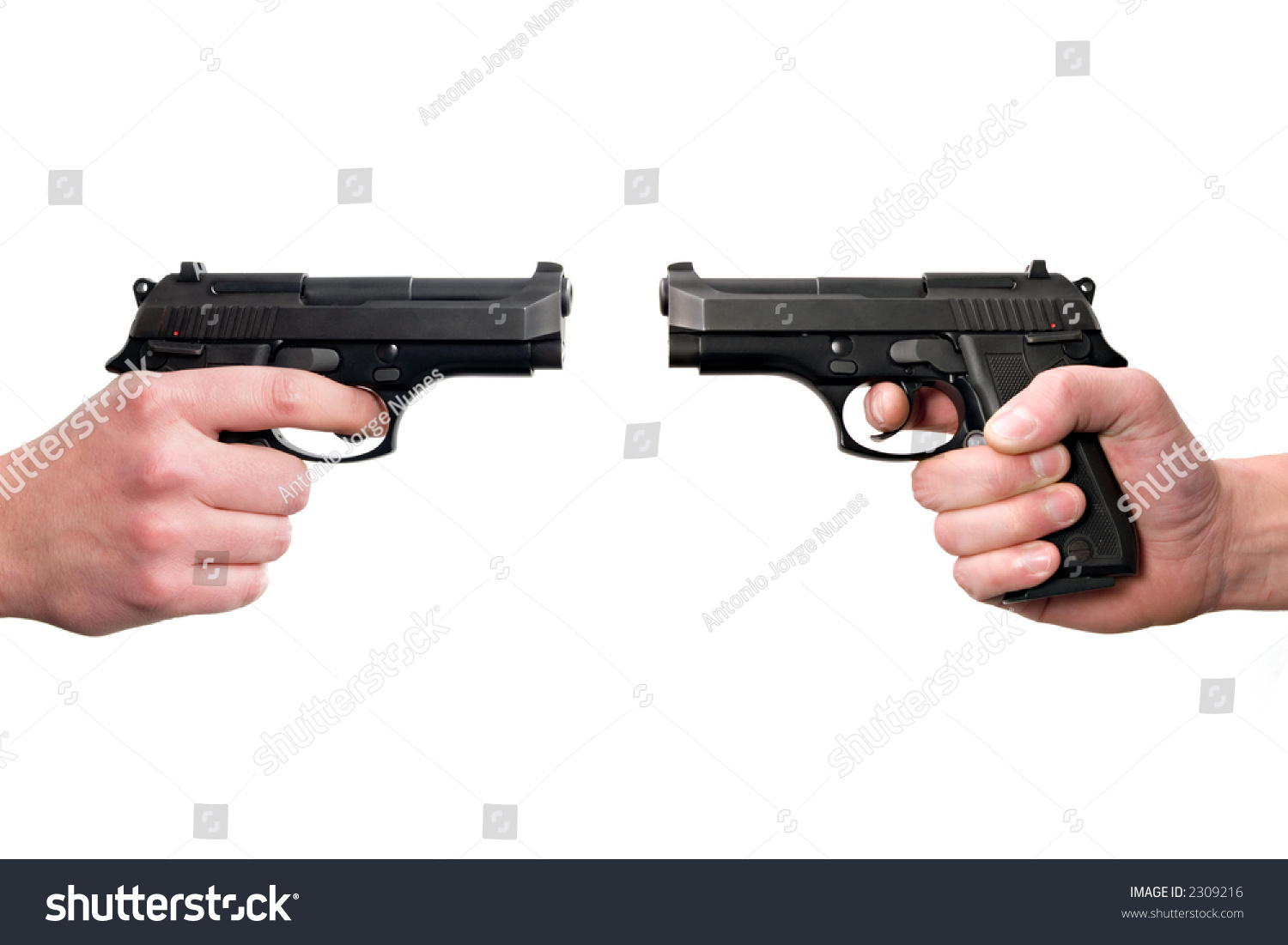 Two Hands Holding Guns, Front To Front. Isolated On White ...