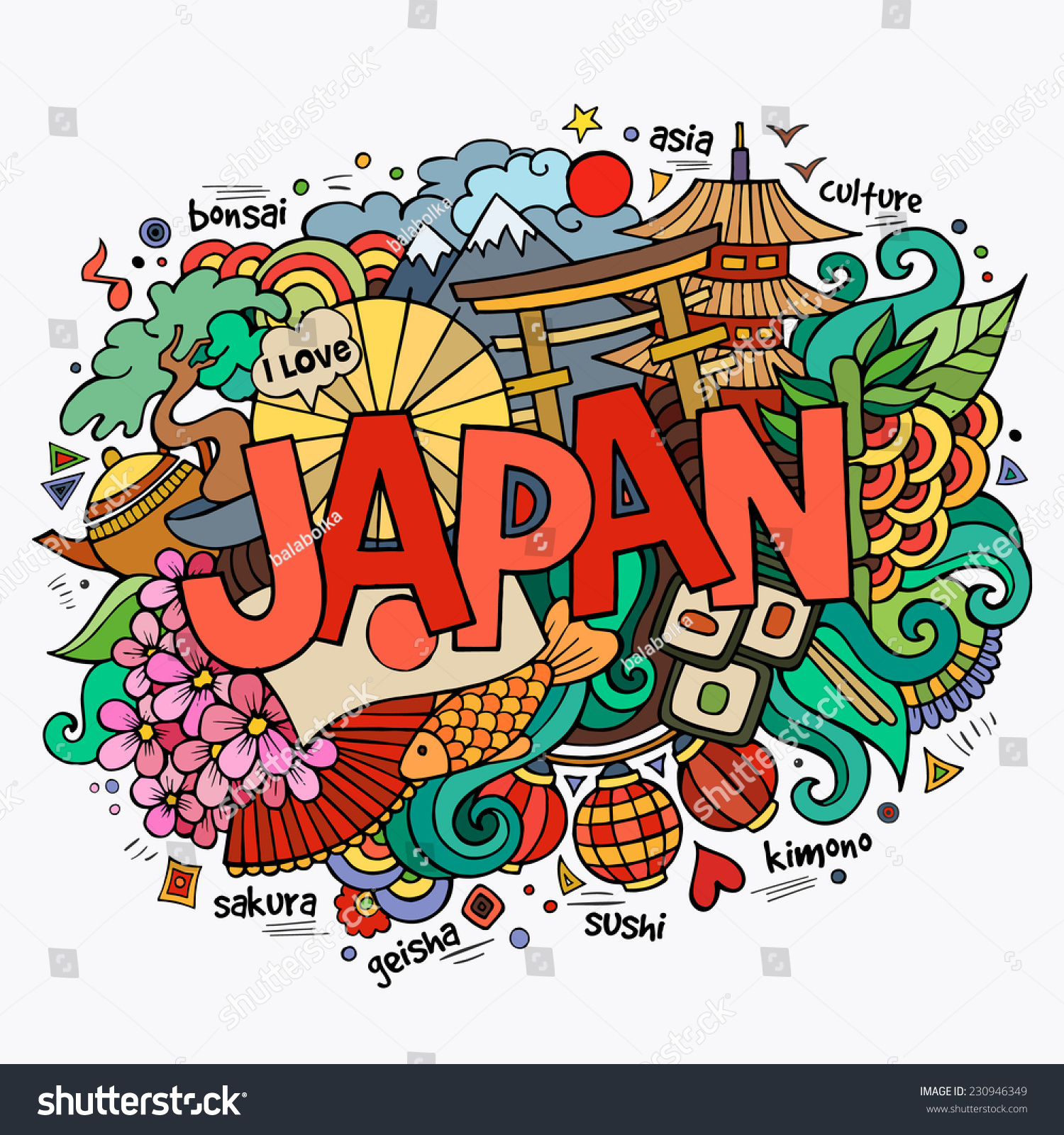 Stock vector music hand lettering and doodles elements - Japan Hand Lettering And Doodles Elements Background Vector Illustration