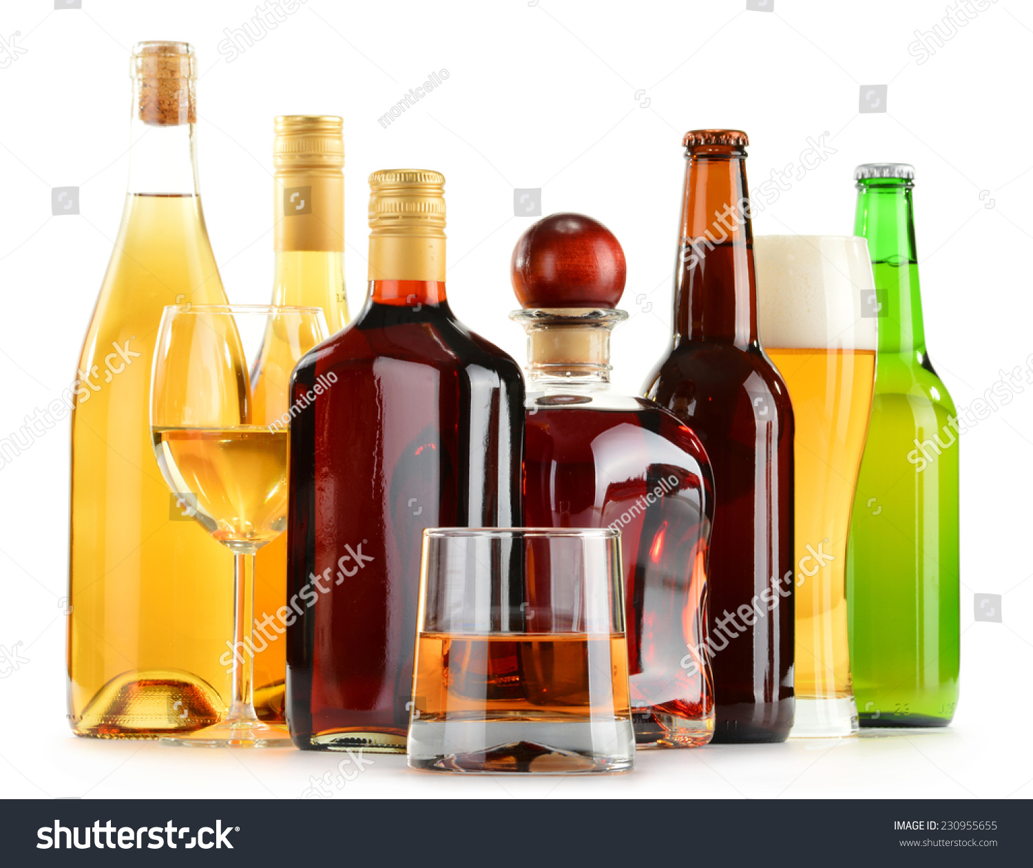 Bottles Glasses Assorted Alcoholic Beverages Isolated