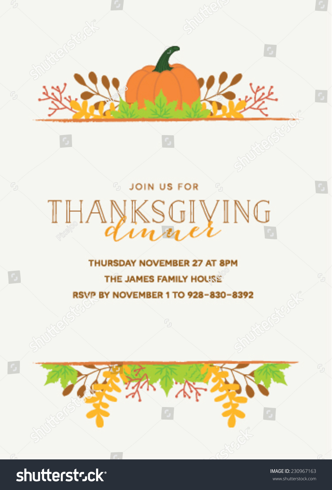 Thanksgiving invitation template pumpkin autumn leaves stock thanksgiving invitation template with pumpkin and autumn leaves stopboris Gallery