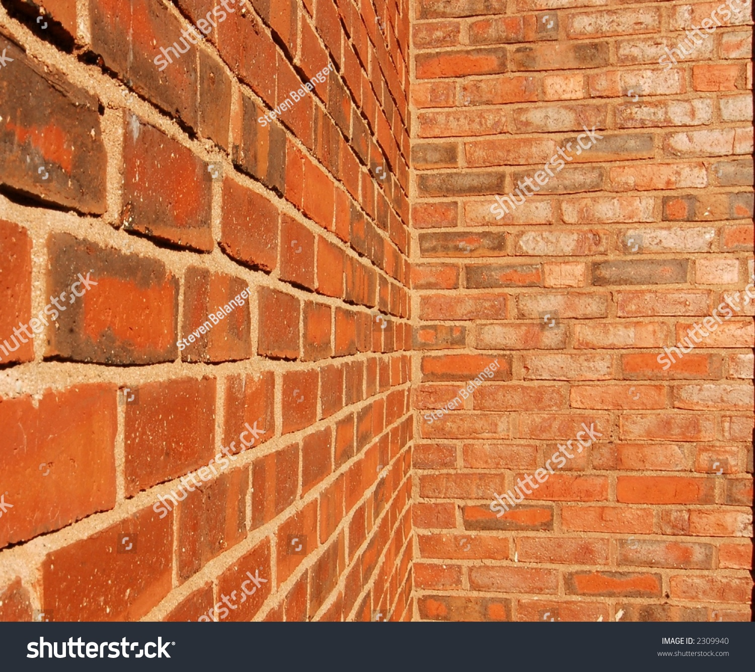 Brick Walls Intersecting Inside Corner Stock Royalty Free