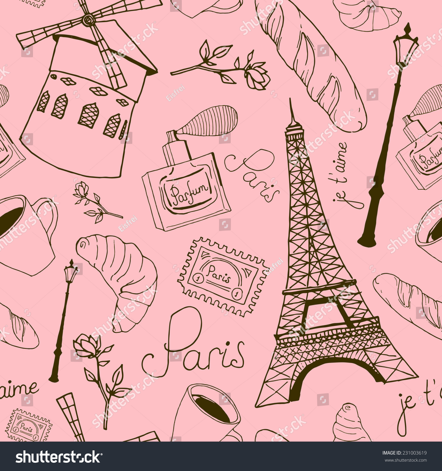 As Creation Pink Paris Pattern Eiffel Tower Childrens: Pink Paris Sketch Pattern. Vector Seamless Texture With