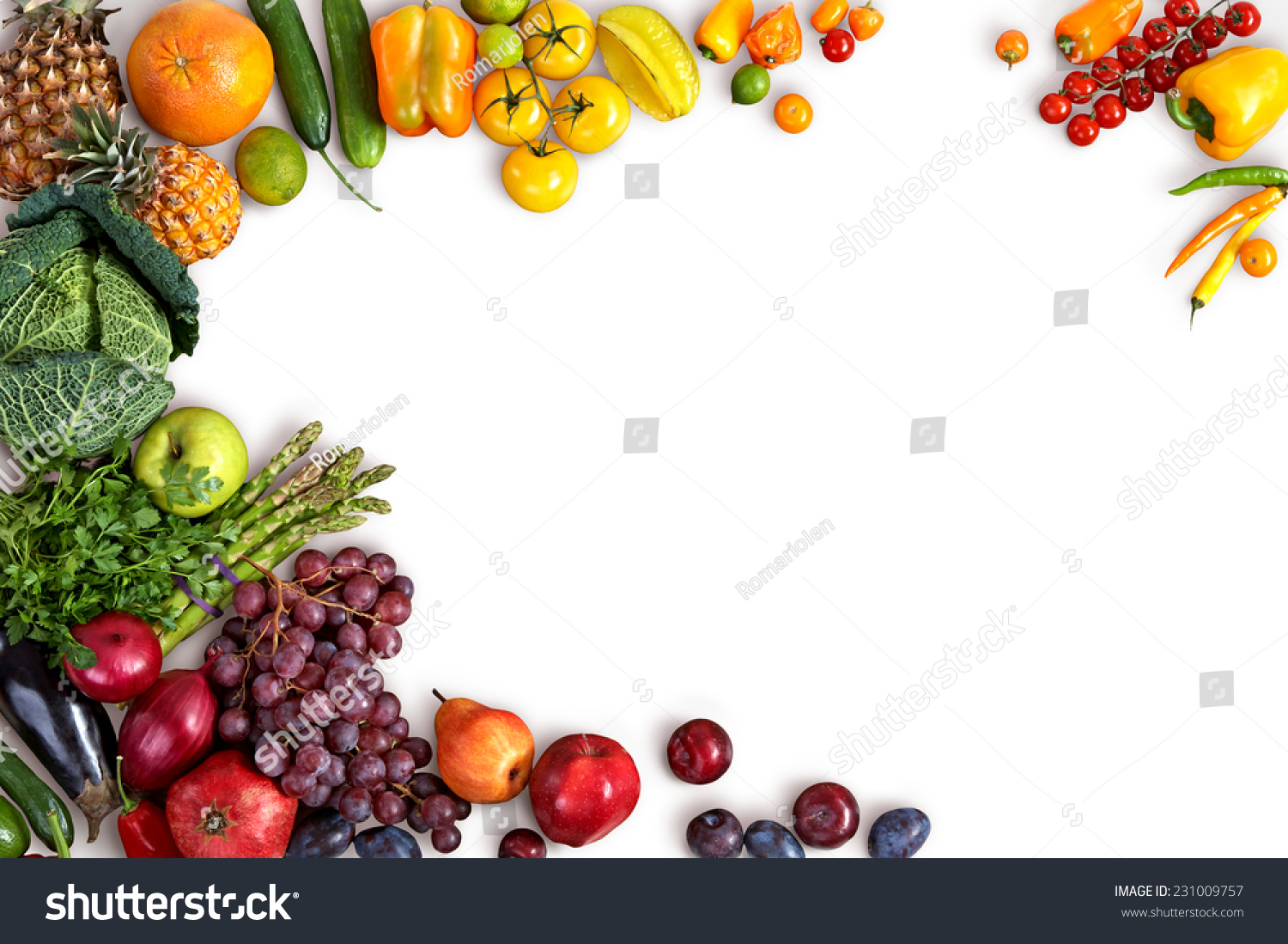 Food background studio photo of different fruits and vegetables - Healthy Eating Background Studio Photography Of Different Fruits And Vegetables On White Backdrop