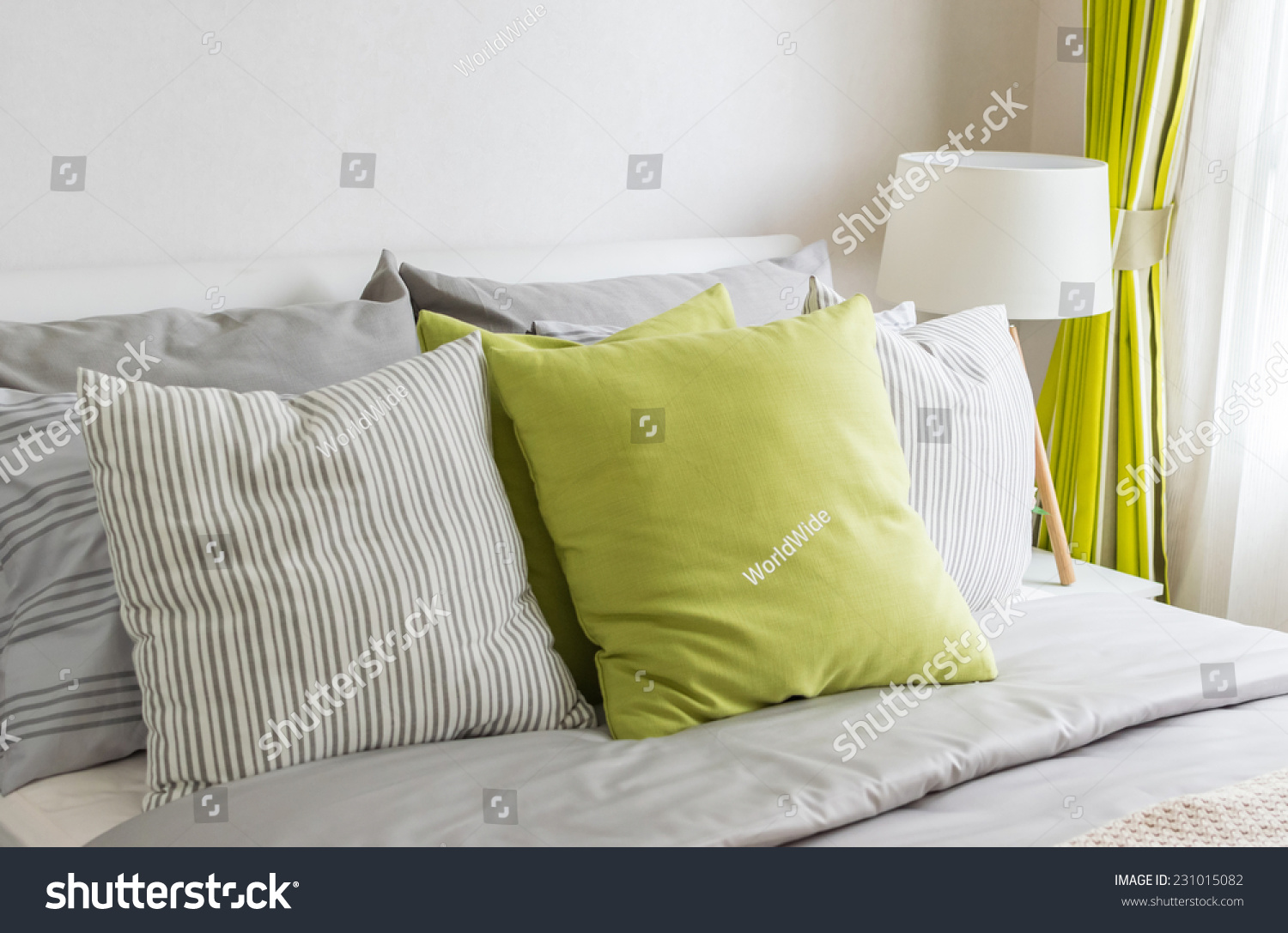 Modern Bedroom Pillows : Modern Bedroom Green Pillow On Bed Stock Photo 231015082 - Shutterstock
