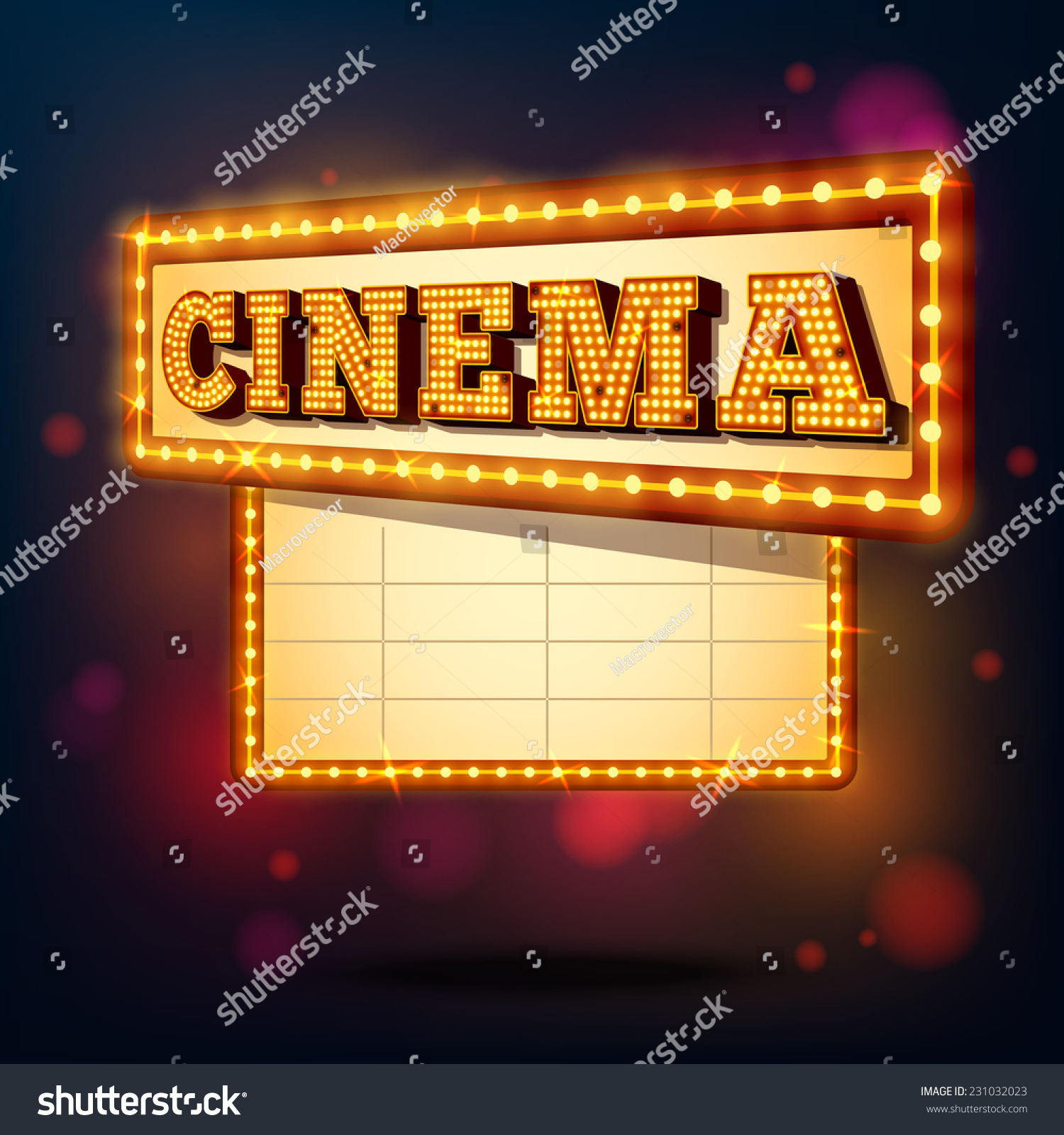 Retro Cinema Marquee Neon Lights Advertising Sign Background Vector Illustration - 231032023 ...