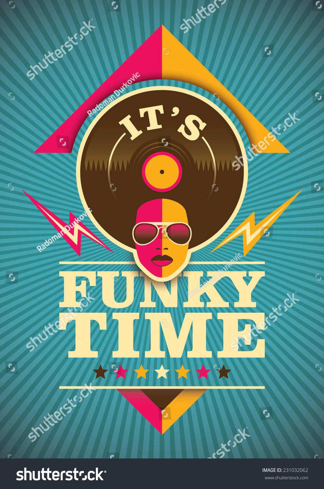 Funky Poster Design Color Vector Illustration Stock Vector ...
