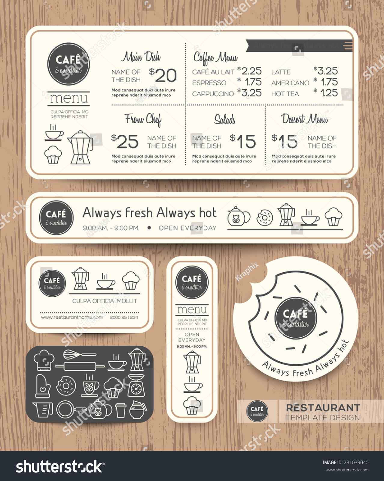 Restaurant Cafe Set Menu Graphic Design Stock Vector