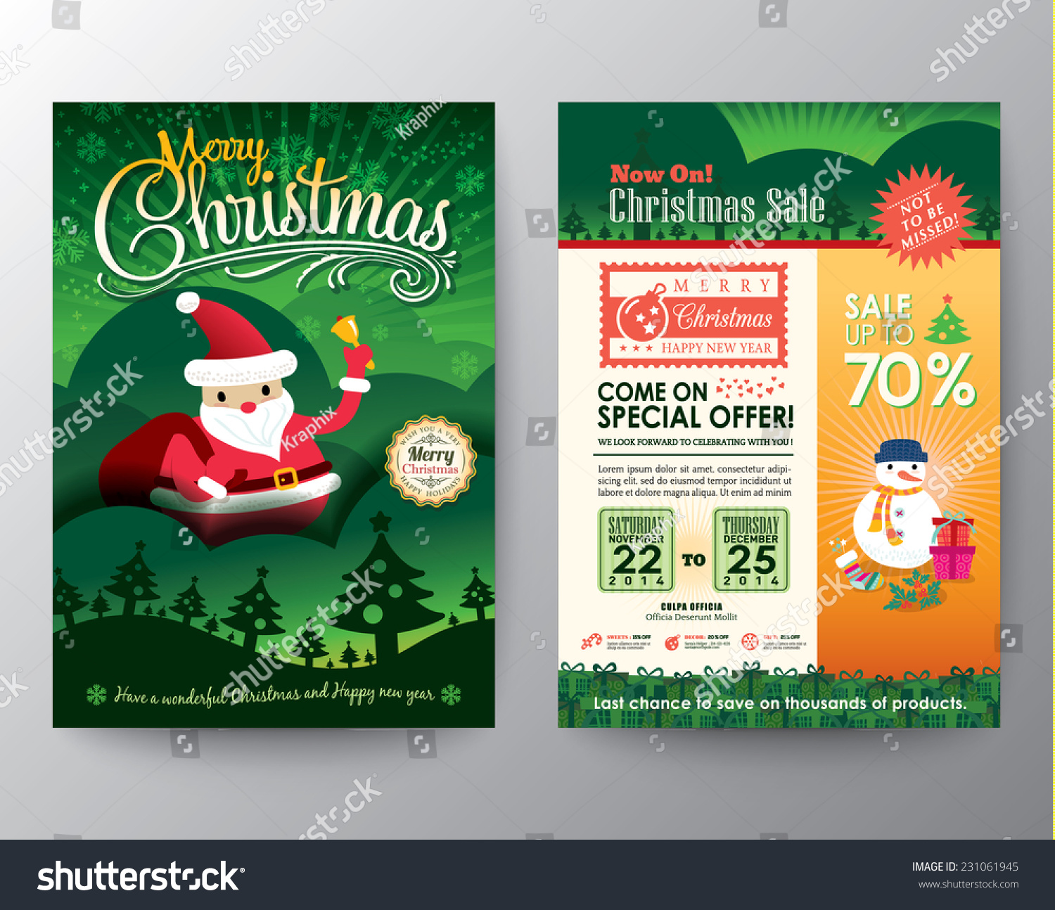 Christmas sale brochure flyer design layout stock vector for Christmas brochure template