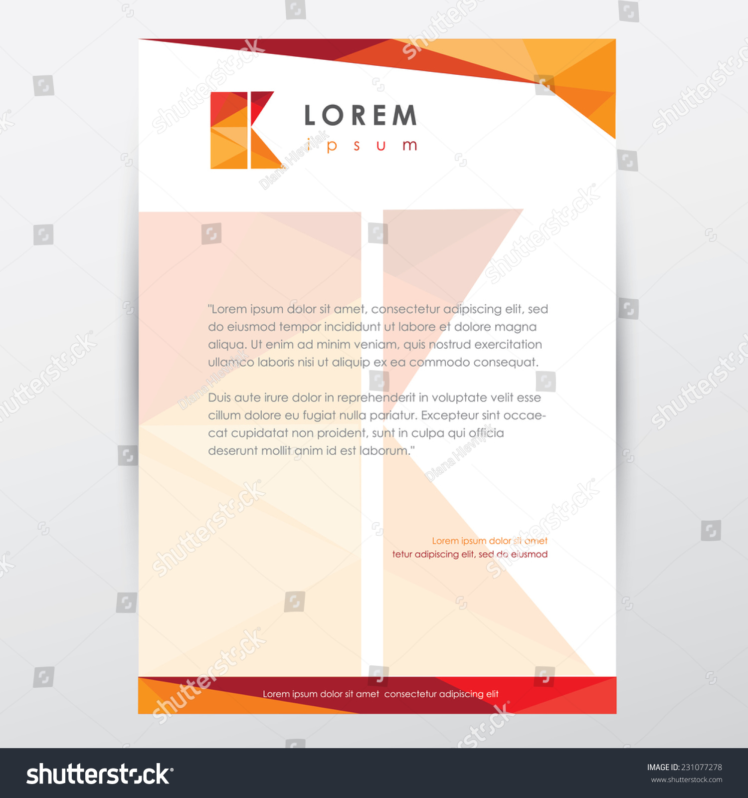 modern colorful low poly style letterhead stock vector 231077278 modern colorful low poly style letterhead memorandum presentation template for company visual identity letter k