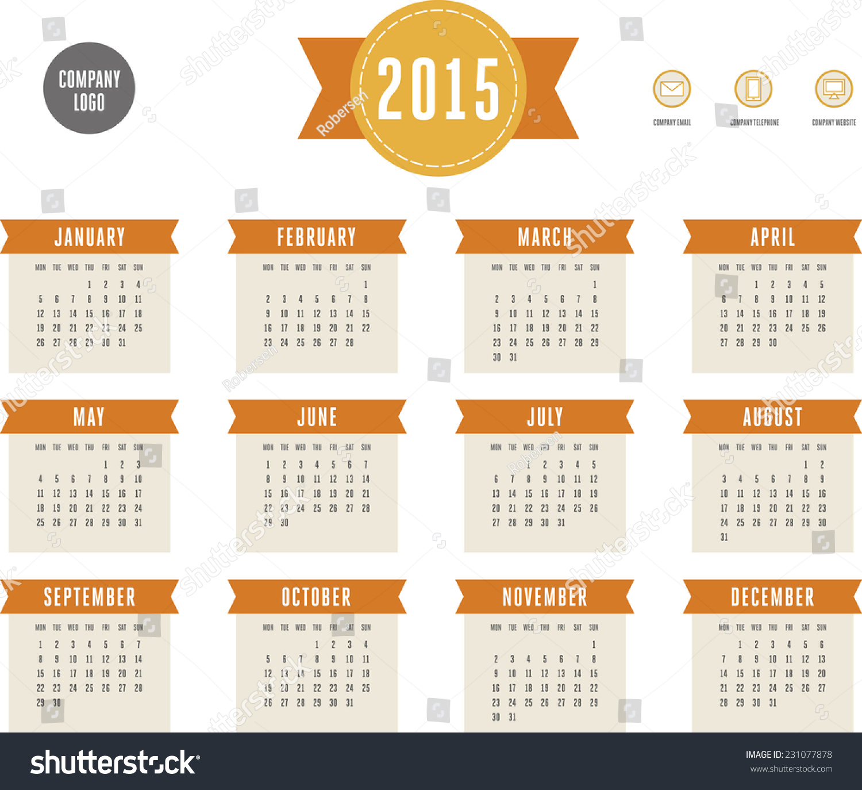 Calendar Vintage 2015 : Calendar vintage style vector template stock