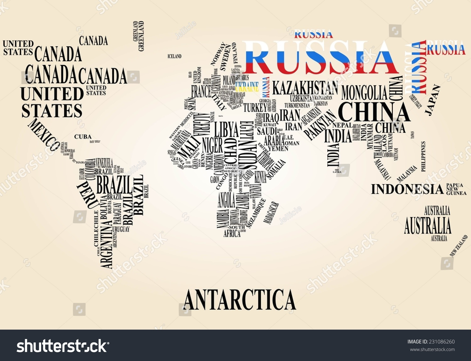 Word cloud world map russia ukraine stock vector 231086260 word cloud world map with russia and ukraine gumiabroncs Images