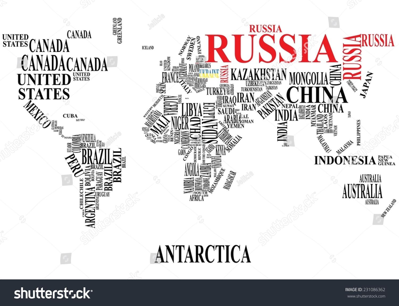 Word cloud world map russia ukraine vector de stock231086362 word cloud world map with russia and ukraine gumiabroncs Gallery
