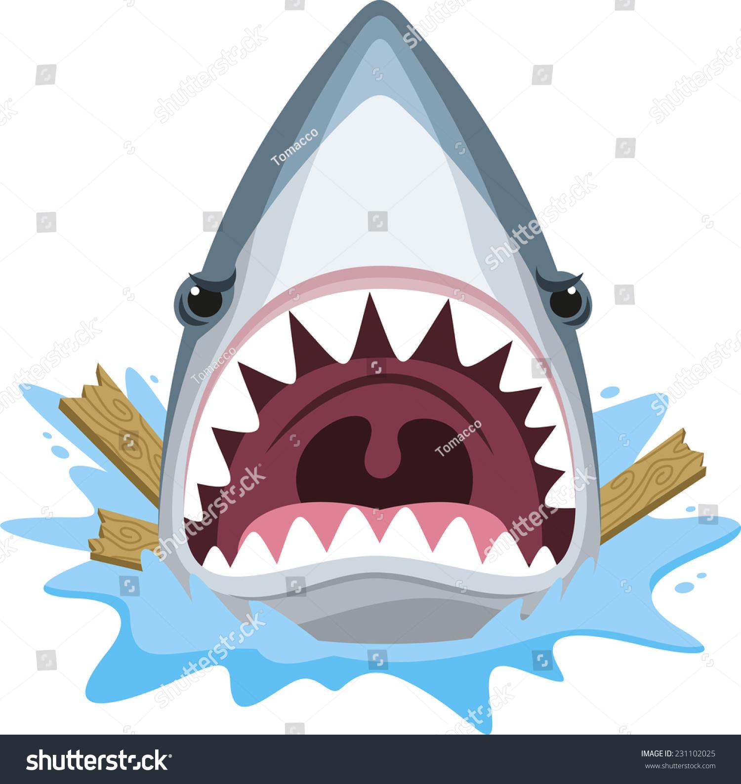 shark attack open jaws full teeth stock vector 231102025