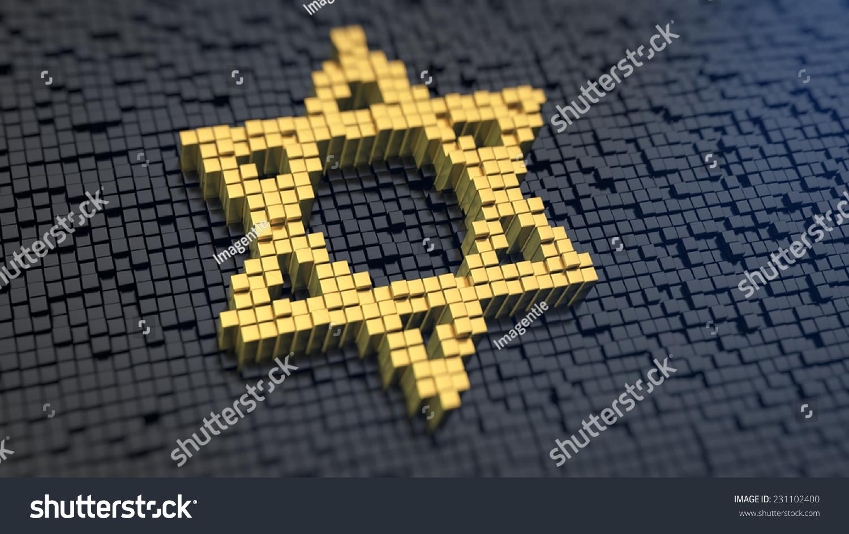 Mogendovid symbol yellow square pixels on stock illustration mogendovid symbol of the yellow square pixels on a black matrix background biocorpaavc