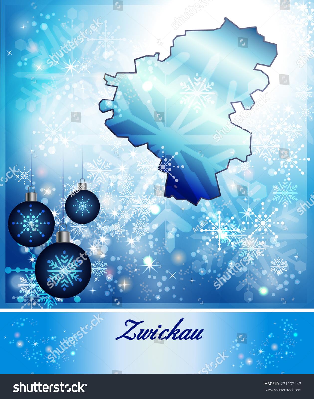 Map Zwickau Christmas Design Blue Stock Illustration 231102943