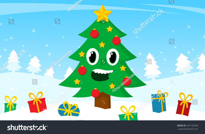 happy cartoon christmas tree smiling face stock vector 231103540
