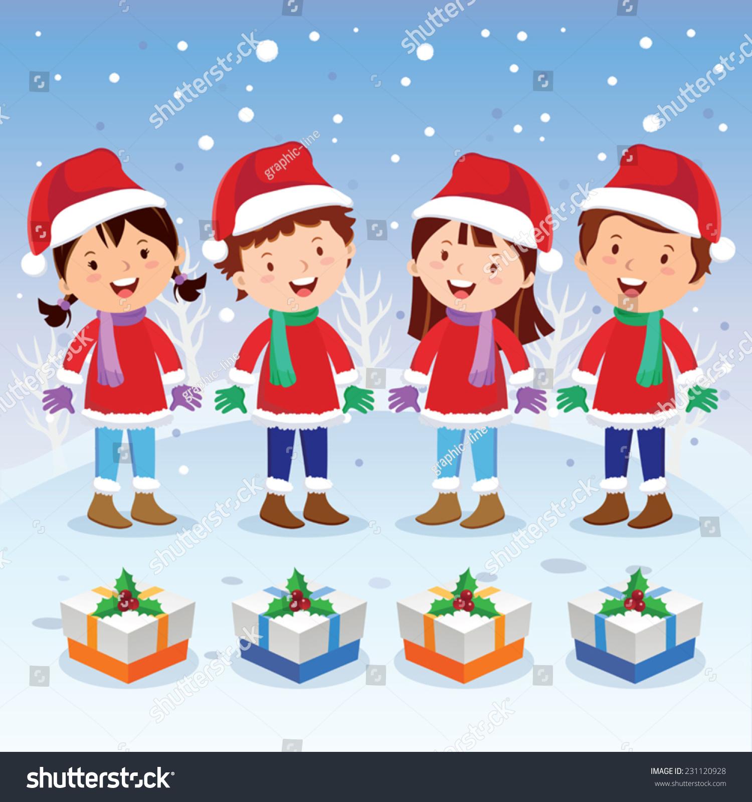 winter fun christmas carols children choir stock vector royalty rh shutterstock com Angel Clip Art Christmas Angels Clip Art