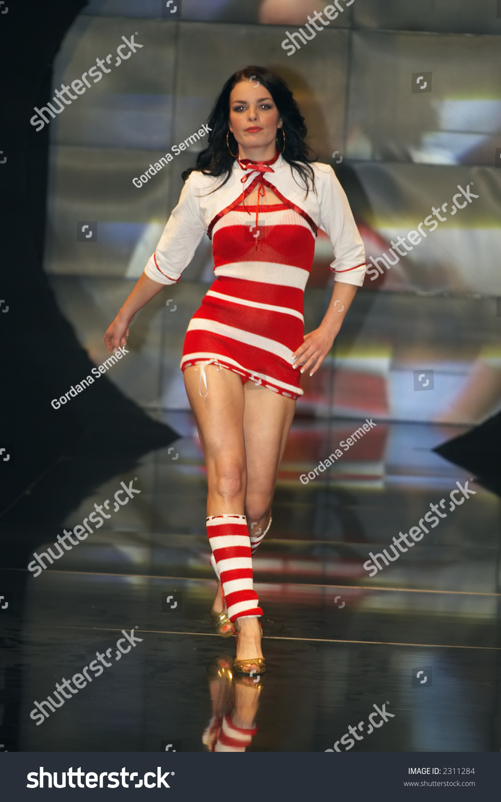 Fashion Woman Walking On Stairs Stock Photo - Image of ... |Fashion Model Walking