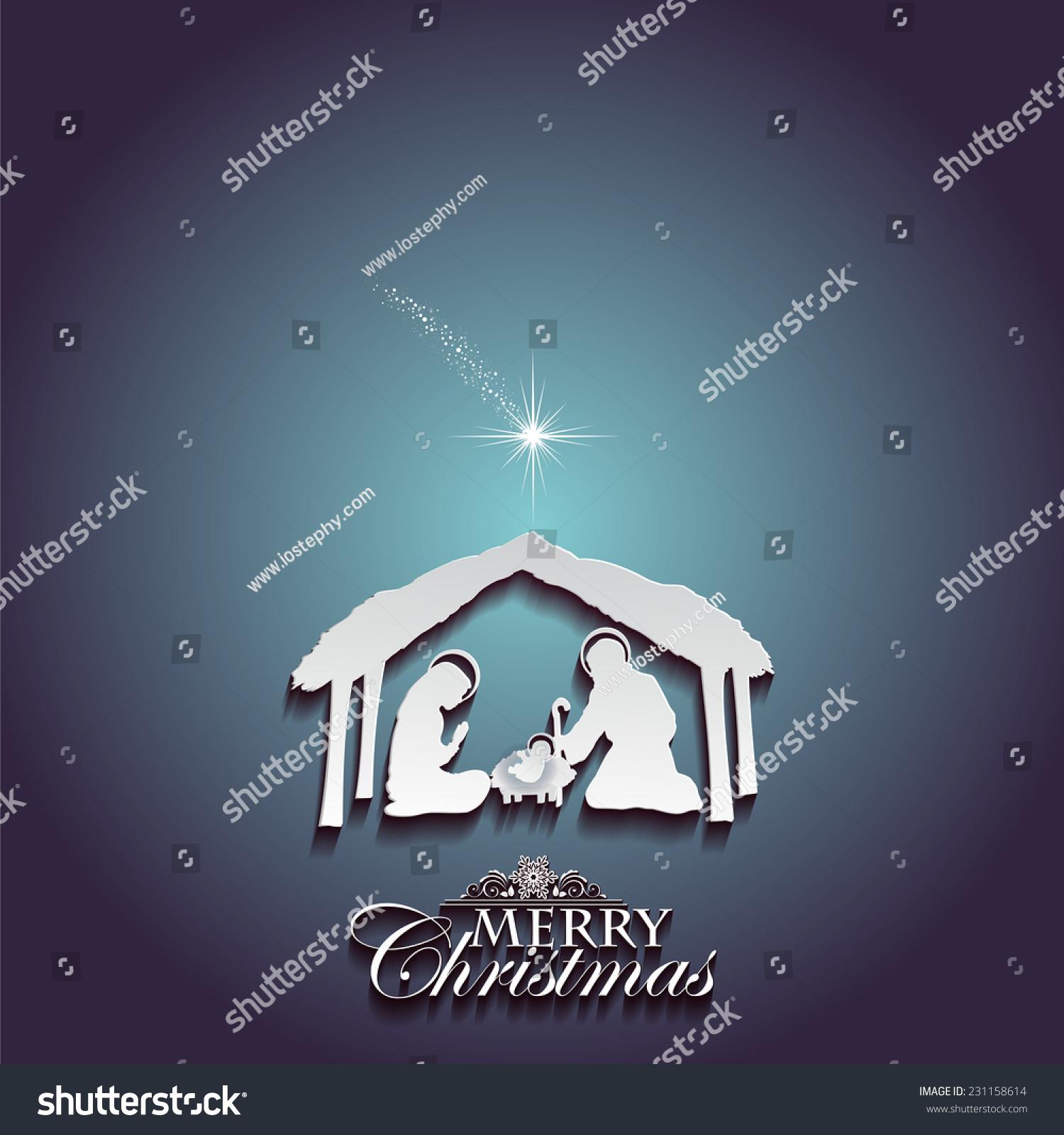 Nativity Scene Holy Family White Silhouettes Stock Illustration