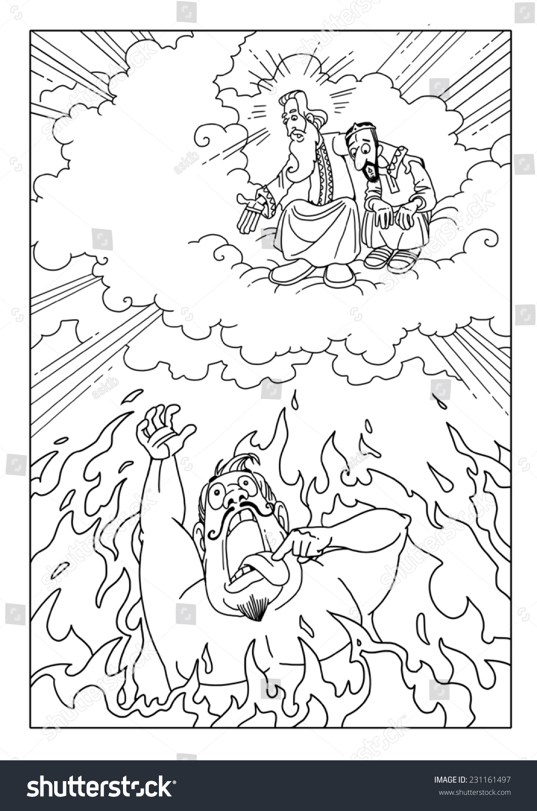 Coloring pages for lazarus and rich man - The Rich Man Is Suffering In Hell Fire And Asks Lazarus And Abraham To Help