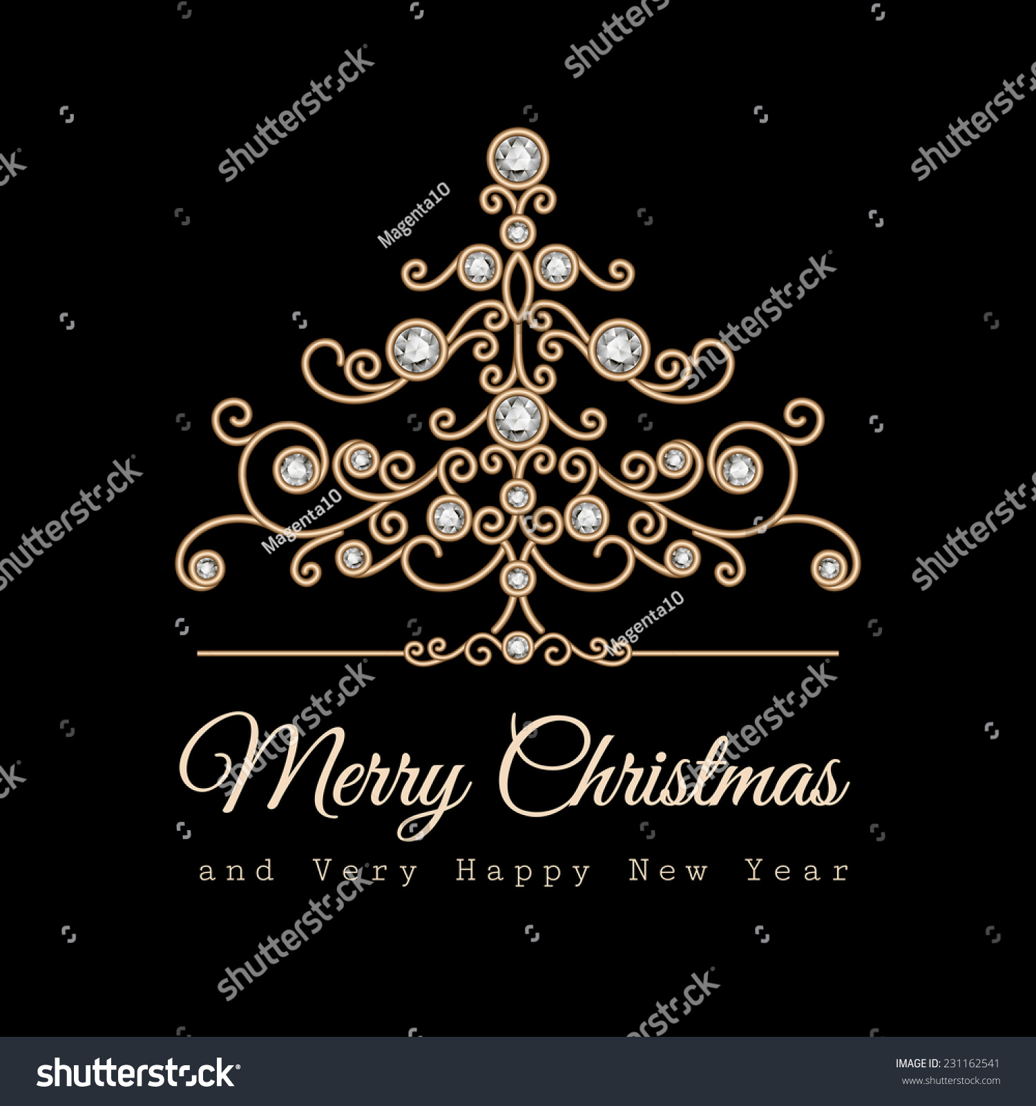 Vintage Gold Jewelry Spruce Christmas Tree Stock Vector (Royalty ...
